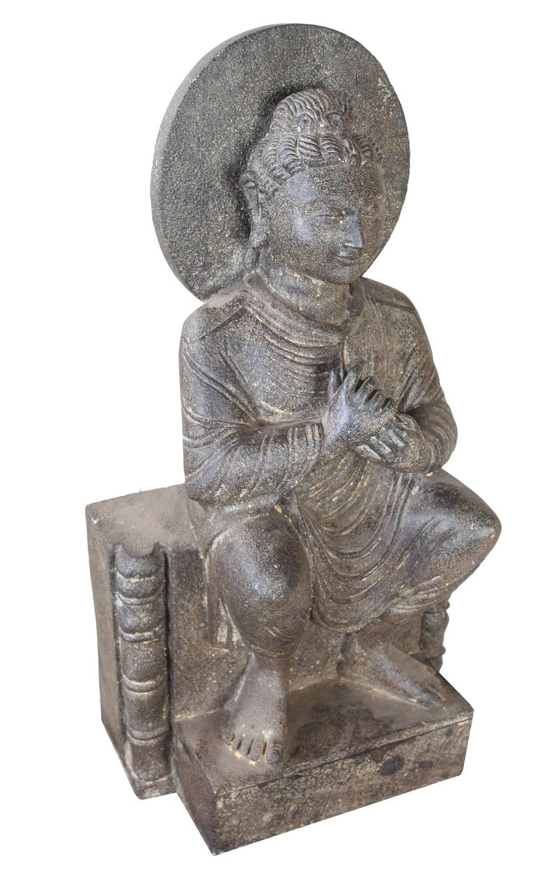 Granite Sitting Buddha, India, Early 1900s In Excellent Condition For Sale In Nantucket, MA