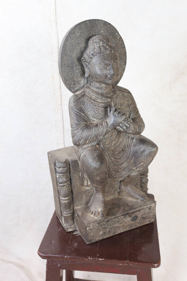 20th Century Granite Sitting Buddha, India, Early 1900s For Sale