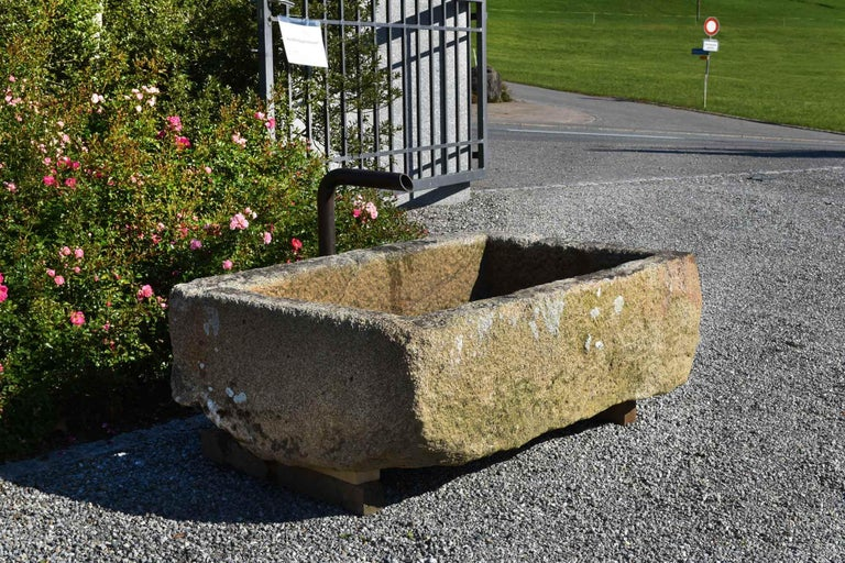 This small granite trough has a nice patina and is in a very good condition. It looks wonderful in the garden and around flowers. You will enjoy the sound, which the water makes.