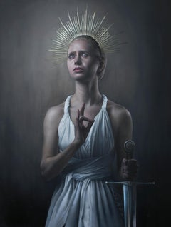 """""""Justitia Attempts Prayer,"""" Oil Painting"""