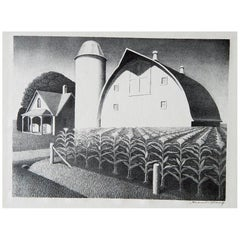 "Grant Wood Original Stone Lithograph, 1938, ""Fertility"""