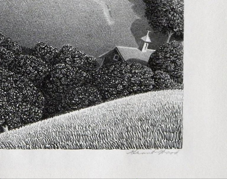 """20th Century Grant Wood Original Stone Lithograph, 1938, """"July Fifteenth"""""""