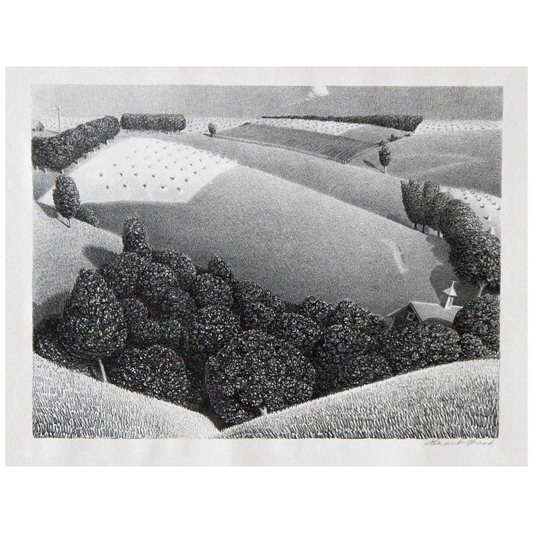 "Grant Wood Original Stone Lithograph, 1938, ""July Fifteenth"""