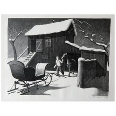 """Grant Wood Original Stone Lithograph, 1940, """"December Afternoon"""""""
