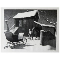 "Grant Wood Original Stone Lithograph, 1940, ""December Afternoon"""