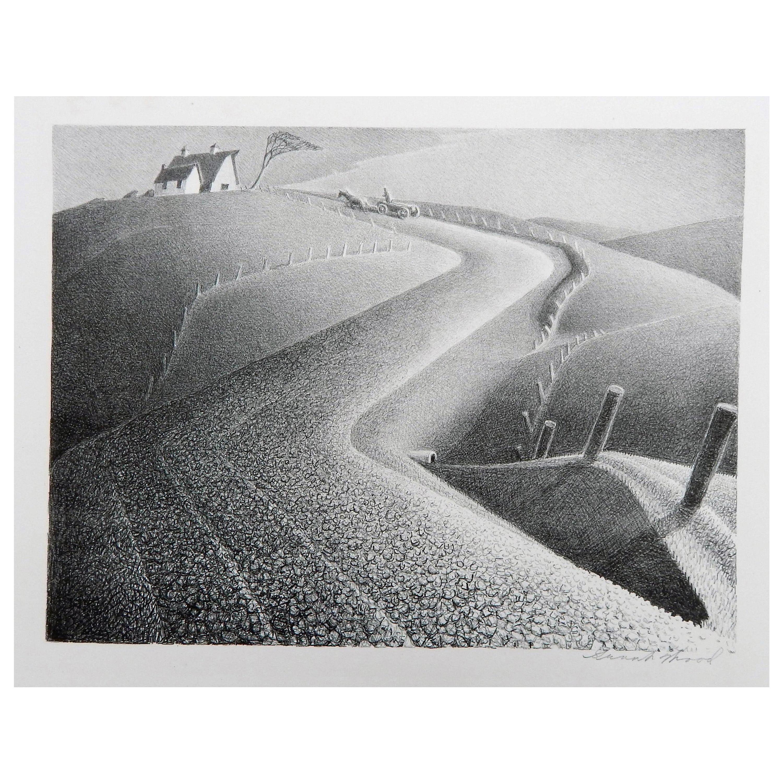 "Grant Wood Original Stone Lithograph, 1941, ""March"""
