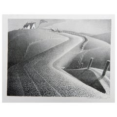 "Grant Wood Original Stone Lithograph, 1941, ""March"""