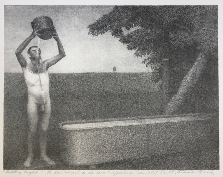 Sultry Night - Banned by the Post Office in 1939 - Provenance Nan Wood - Print by Grant Wood