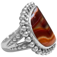 Stephen Dweck Granulated Bead Setting Natural Red Agate Ring