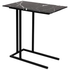 Grapa Staple Side Table in Steel and Black Marble