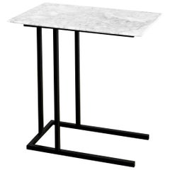Grapa Steel and White Marble Staple Side Table