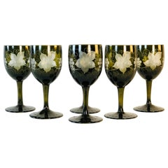Grape Leaf and Vine Wheel-Cut Cordial Stems, Set of 6