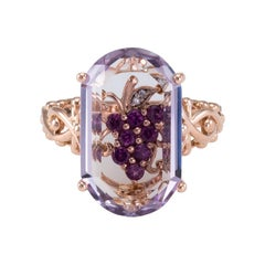 Grape Leaf Diamond Ruby Amethyst Ring 14k Rose Gold Estate Fine Jewelry