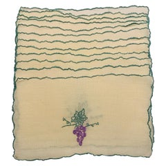 Grape Motif Embroidered Linen Cocktail Napkins for Wine Lovers