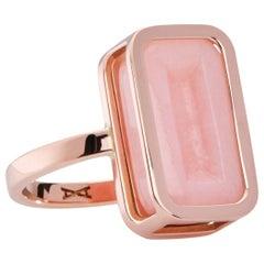Grapefruit Pfefferminz Ring, 14 Karat Rose Gold Carved Pink Opal Cocktail Ring