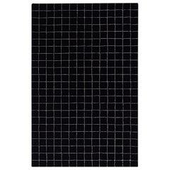 Black White Graph Check Wool Area Rug 5x8
