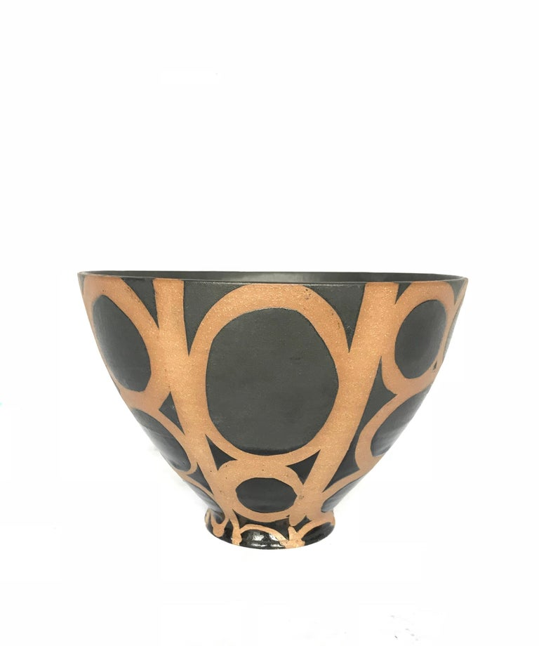 Modern Graphic Ceramic Bowl by Liz Kinder For Sale