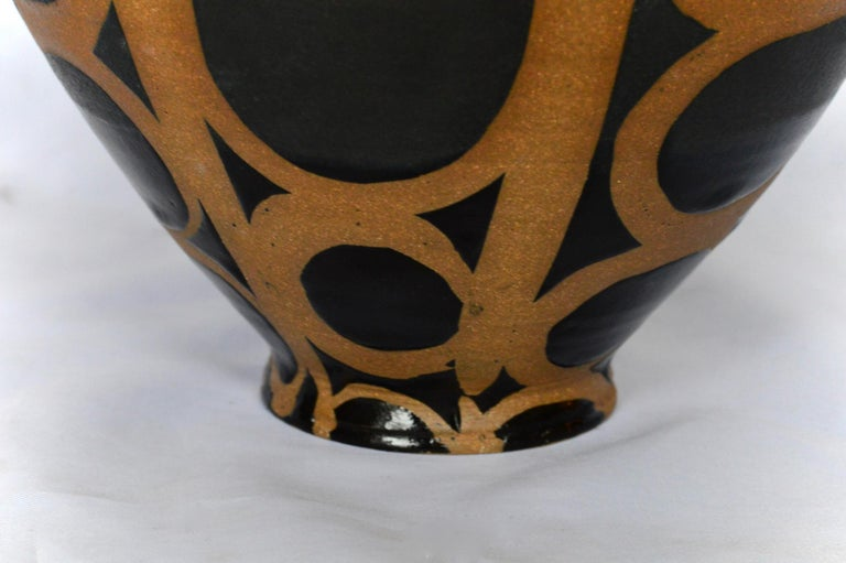 Pottery Graphic Ceramic Bowl by Liz Kinder For Sale