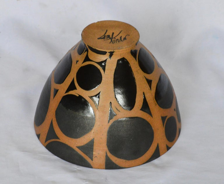Graphic Ceramic Bowl by Liz Kinder For Sale 1