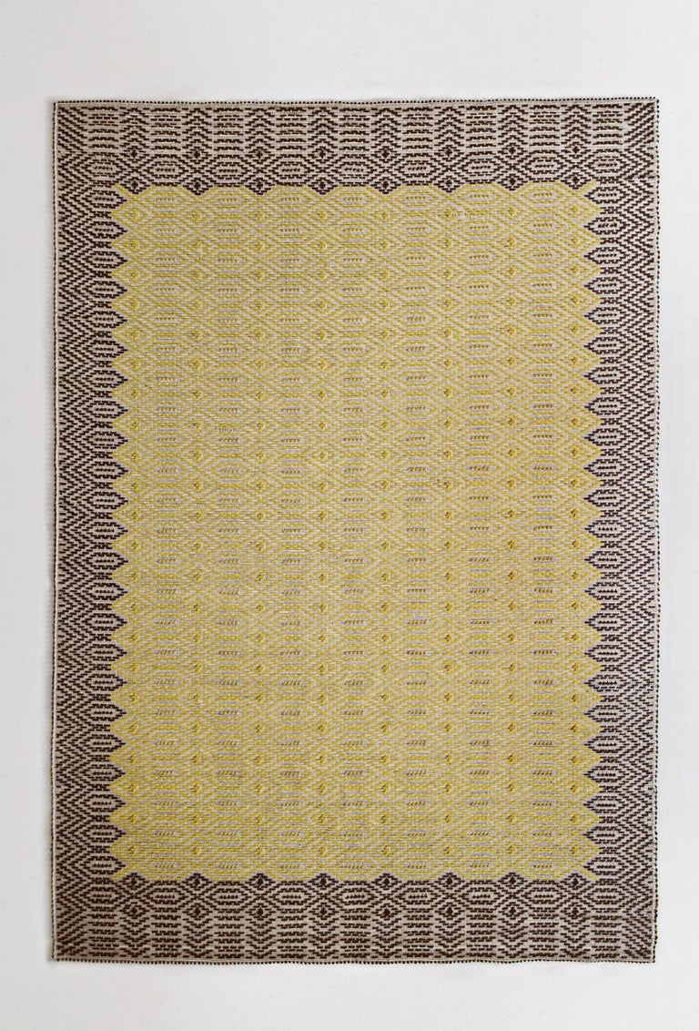 Graphic, Duo-Tone Allover Carpet in Hand-Tufted Sardinian Wool In New Condition For Sale In Santadi, SU