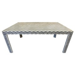 Graphic Faux Ebony and Ivory Dining Table