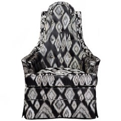 Graphic Ikat Silk Hollywood Regency Lounge Chair