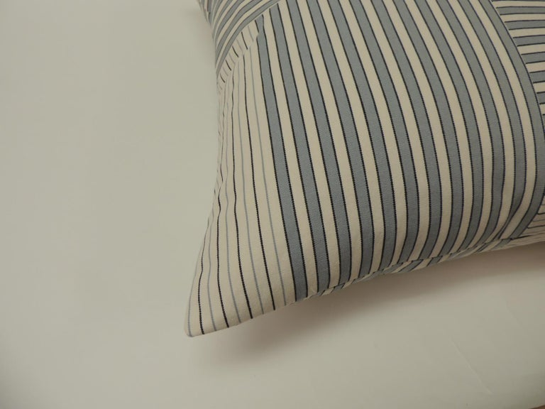 """Graphic natural and charcoal grey """"Parsons"""" stripes decorative pillows double sided #1 Parsons stripes custom ATG decorative pillows using stripes to create this modern pattern, in shades of natural, slate blue and charcoal grey. New and"""