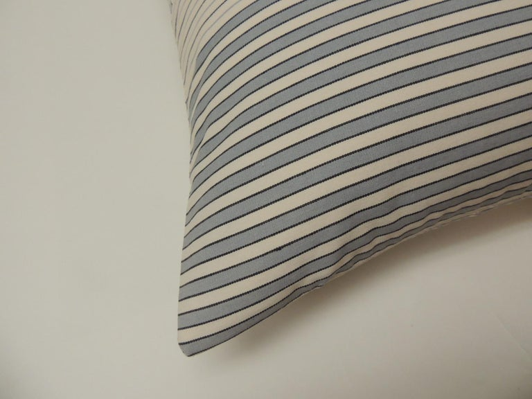 "Graphic natural and charcoal grey ""Parsons"" stripes decorative pillows double sided #2