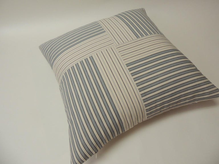 "Modern Graphic Natural and Charcoal ""Parsons"" Stripes Decorative Pillows Double Sided For Sale"