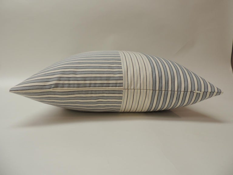 "French Graphic Natural and Charcoal ""Parsons"" Stripes Decorative Pillows Double Sided For Sale"