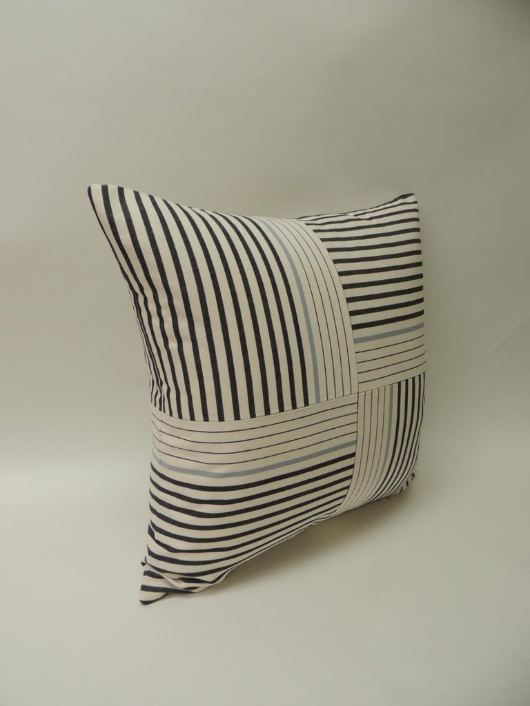 "Hand-Crafted Graphic Natural and Charcoal ""Parsons"" Stripes Decorative Pillows Double Sided For Sale"