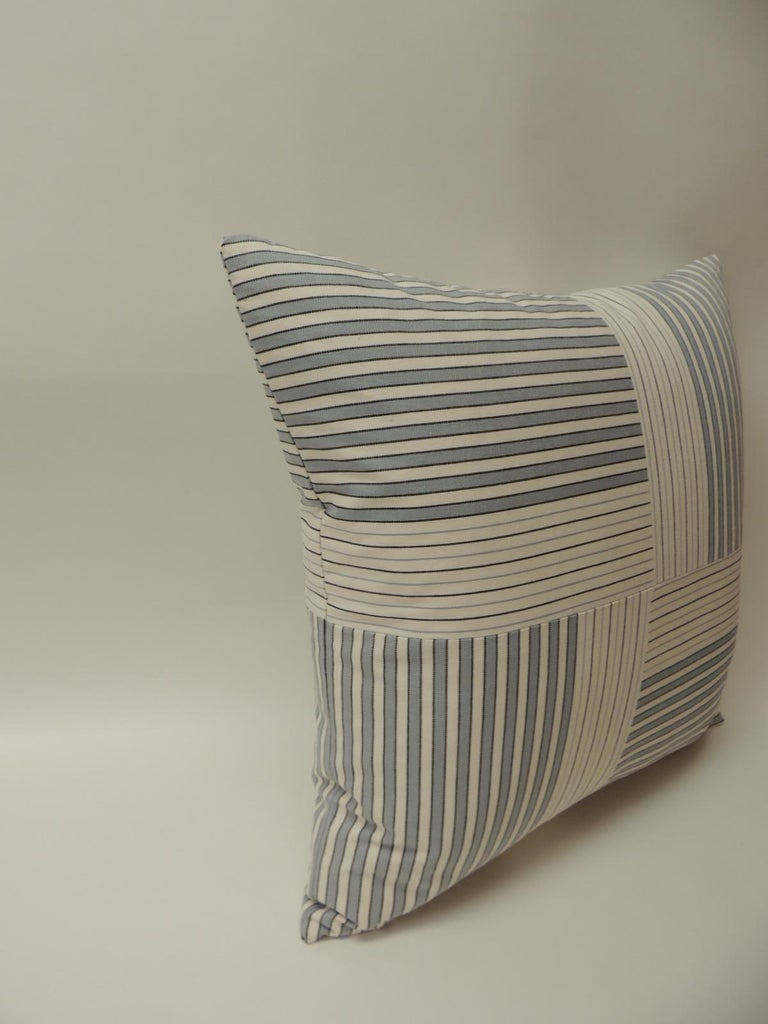 "Graphic Natural and Charcoal ""Parsons"" Stripes Decorative Pillows Double Sided In Excellent Condition For Sale In Oakland Park, FL"