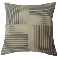 "Graphic Natural and Charcoal ""Parsons"" Stripes Decorative Pillow Double Sided"