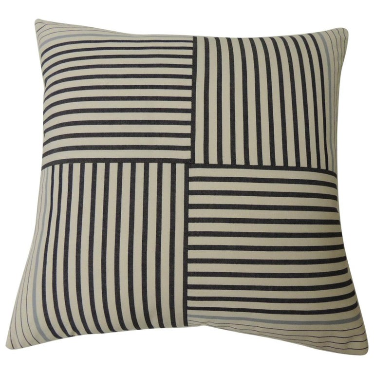 """Graphic Natural and Charcoal """"Parsons"""" Stripes Decorative Pillows Double-Sided For Sale"""