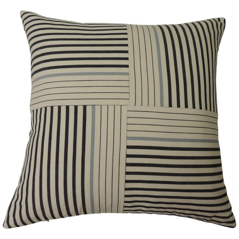 "Graphic Natural and Charcoal ""Parsons"" Stripes Decorative Pillows Double Sided For Sale"