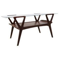 Graphic Scandinavian Teak Coffee Table with Glass Top, 1960s