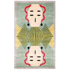 Graphic Silk Rug 'Dhading' by Alessandro Mendini for Carini