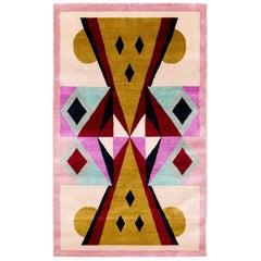 Graphic Silk Rug 'Toto' by Alessandro Mendini for Carini