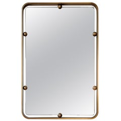 Graphic Solid Brass Italian Mirror, Italy, 1960s