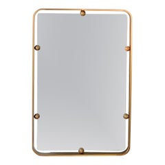 Graphic Solid Brass Italian Mirror, Italy, 1960s