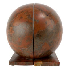 Graphic Sphere Bookends of Rouge Marble