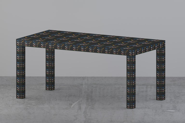 Laminated Graphic Table/Desk Black Rainbow Hitan Wood and Laminates by Chapel Petrassi For Sale