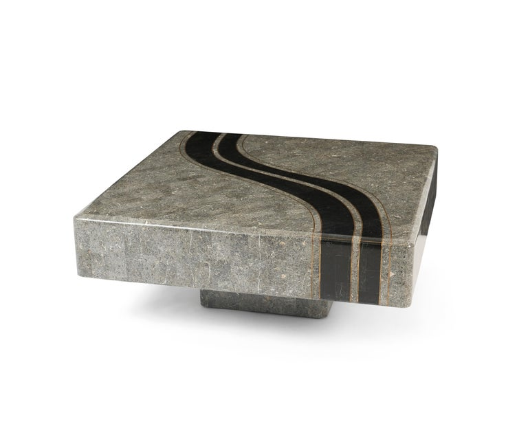 Post-Modern Graphic Tessellated Marble Coffee Table For Sale