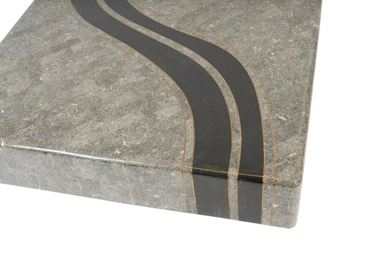 American Graphic Tessellated Marble Coffee Table For Sale