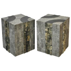 Graphic Tessellated Marble End Tables