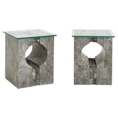 Graphic Tessellated Marble Side Table, 1980