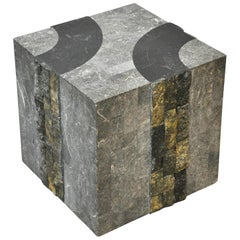 Graphic Tessellated Marble Side Table