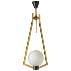 Graphical French Brass and Glass Pendant, circa 1960