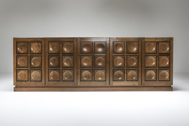 Late 20th Century Graphical Sideboard in Oak, Belgium, 1970s For Sale