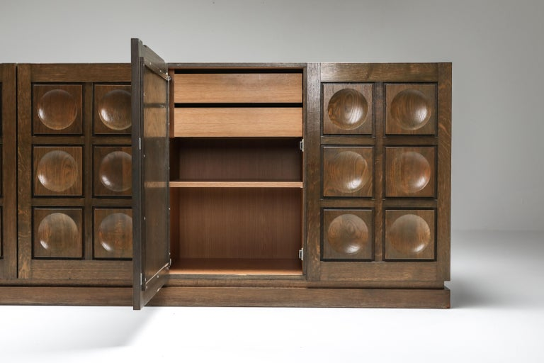 Graphical Sideboard in Oak, Belgium, 1970s For Sale 1